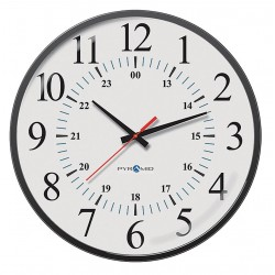 Pyramid Technologies - 9A17KG - 17 Round Wall Clock Arabic, Black ABS Plastic Frame