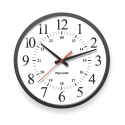 Pyramid Technologies - 9A13DG - 13-1/4 Round Wall Clock Arabic, Black ABS Plastic Frame