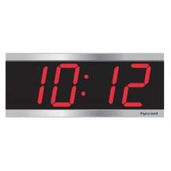Pyramid Technologies - 9D34SR - 4-1/2 x 11-1/8 Rectangle LED Wall Clock, Silver ABS Plastic Frame