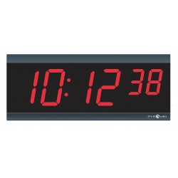 Pyramid Technologies - 9D26BRCT - 4-1/2 x 11-1/8 Rectangle LED Wall Clock, Black ABS Plastic Frame