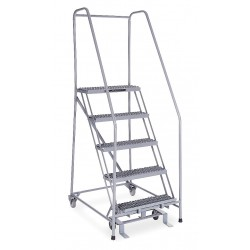 Cotterman - 1005R2630A3E10B4C1P6 - 5-Step Rolling Ladder, Serrated Step Tread, 80 Overall Height, 450 lb. Load Capacity