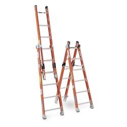 Werner - 7808 - Fiberglass Combination Ladder, 16 ft. Extended Ladder Height, 375 lb. Load Capacity