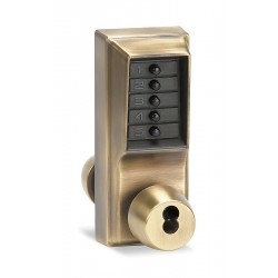 Kaba Ilco - 1021B-05-41 - Mechanical Push Button Lockset, 5 Button, Vandal Resistant, Entry with Key Override, Antique Brass