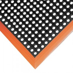 "Notrax - 549S3864OB - Drainage Mat, Black with Orange Border, 5 ft. 4"" x 3 ft. 2"", Rubber, 1 EA"
