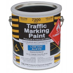 RAE Products & Chemicals - 7300-01 - Alkyd Solvent-Base Traffic Zone Marking Paint, Yellow, 1 gal.