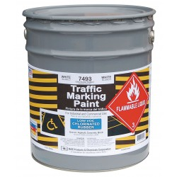 RAE Products & Chemicals - 7493-05 - Chlorinated Solvent-Base Traffic Zone Marking Paint, White, 5 gal.