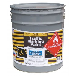 RAE Products & Chemicals - 7494-05 - Chlorinated Solvent-Base Traffic Zone Marking Paint, Yellow, 5 gal.