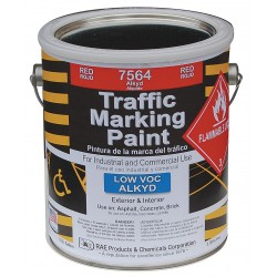 RAE Products & Chemicals - 7564-01 - Alkyd Solvent-Base Traffic Zone Marking Paint, Red, 1 gal.
