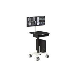 AFC Industries - PC800_2023_KB01_2F_C_01 - 23-1/2D x 24W x 58H Steel Dual Monitor Medical Cart, 50 lb. Load Capacity