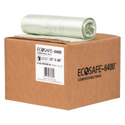 Plastics Solutions - HB3348-8 - 35 gal. Green Compostable Trash Bags, Extra Heavy Strength Rating, Coreless Roll, 90 PK