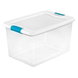 Sterilite - 14978006 - Storage Tote, Clear/White, 13-1/2H x 23-3/4L x 16W, 1EA