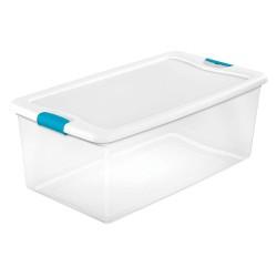 Sterilite - 14998004 - Storage Tote, Clear/White, 13H x 33-7/8L x 18-3/4W, 1EA