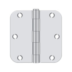 Deltana - S35R526 - 3-1/2 x 1-3/4 Butt Hinge with Bright Chrome Finish, Full Mortise Mounting, Rounded Corners