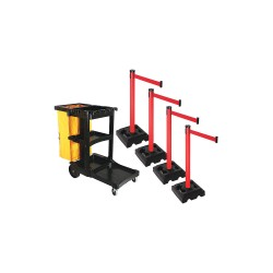 Visiontron - PSBK303PRD-RD - Barrier Systems, Post Red, 10 ft. Belt