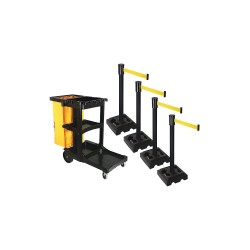 Visiontron - PSBK323PSB-YW - Barrier Systems, Post Black, 15 ft. Belt