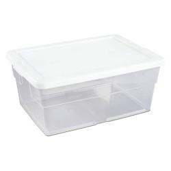 Sterilite - 16448012 - Storage Tote, Clear/White, 7H x 16-3/4L x 11-7/8W, 1EA