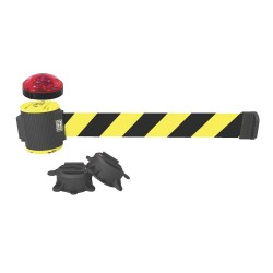 Banner Stakes - MH5007L - Belt Barrier w/Light Kit, Yellow/Black Stripe, None