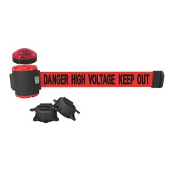 Banner Stakes - MH5010L - Belt Barrier w/Light Kit, Red, Danger High Voltage Keep Out