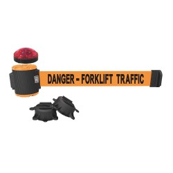 Banner Stakes - MH5013L - Belt Barrier w/Light Kit, Orange, Danger - Forklift Traffic