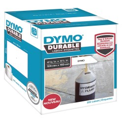 DYMO - 1933086 - Dymo LW Durable 4-1/16 x 6-1/4 (104 mm x 159 mm) White Poly, 200 labels - 4 3/32 Width x 6 17/64 Length - Rectangle - Direct Thermal - White - Polypropylene - 200 / Roll
