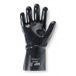 Ansell-Edmont - 09-022 - Chemical Resistant Gloves, Standard Weight Thickness, Interlock Knit Lining, Black, PR 1
