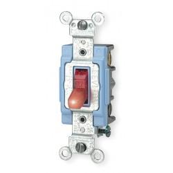 Leviton - 1201-PLR - Leviton 1201-PLR Single-Pole Pilot Light Toggle Switch, 15A, 120V, Red, LIT WHEN ON