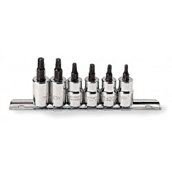 Proto - J5238C - Forged Alloy Steel Socket Bit Set with 3/8 Drive Size and Chrome Finish; Number of Pieces: 6