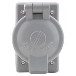 Leviton - 7770 - Leviton 7770 1-Gang, 50 Amp Receptacle Flip Lid Cover, Gray