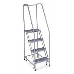 Cotterman - 1004R1820A3E10B3 SS P6 P8 - 4-Step Rolling Ladder, Serrated Step Tread, 70 Overall Height, 450 lb. Load Capacity