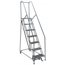 Cotterman - 1007R1824A1E10B4C1P6 - 7-Step Rolling Ladder, Expanded Metal Step Tread, 100 Overall Height, 450 lb. Load Capacity