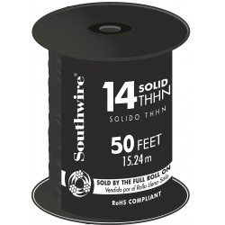 Southwire - 11579041 - 50 ft. Solid Building Wire with THHN Wire Type and 14 AWG Wire Size, Black
