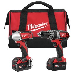 Milwaukee Electric Tool - 2697-22 - Milwaukee 18 V Lithium-Ion 400 RPM 1800 RPM 3450 RPM 2750 RPM 2-Tool Cordless Combination Kit With 1/2' Chuck (Includes 1 Hour Charger, (2) XC High Capacity Lithium-Ion Batteries, M18 Cordless 1/2' Hammer