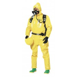 DuPont - BR127TYLMD000200 - Hooded Chemical Resistant Coveralls with Elastic Cuff, Yellow, M, Tychem 9000
