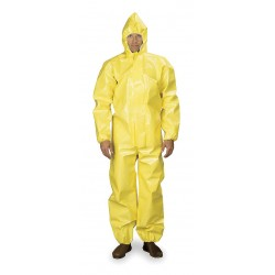 DuPont - BR127TYLLG000200 - Hooded Chemical Resistant Coveralls with Elastic Cuff, Yellow, L, Tychem 9000