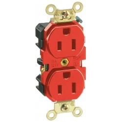 Leviton - 5262-R - Leviton 5262-R 15 Amp, 125 Volt, Slim Body NEMA 5-15R, Red