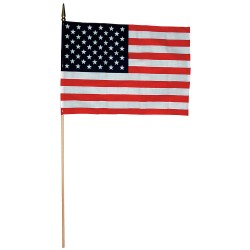 """Annin - 41100 - US Hand Held Flag Set, 4"""" Height, 6"""" Width, Includes 10"""" Staff"""