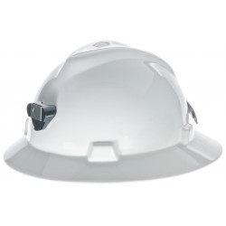MSA - 460069 - MSA White V-Gard Polyethylene Slotted Hard Hat With Staz On 4 Point Pinlock Suspension And Lamp Bracket And Cord Holder