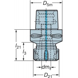 Sandvik Coromant - C5-391.14-20 055 - Coromant Capto ER 20 Collet Chuck Adapter, Capacity: 0.039 / 0.512, ANSI # C5-391.14-20 055