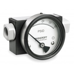 Ashcroft - 351130FD25SXCYLM30PSID - 1/4 FNPT Differential Pressure Gauge with 3-1/2 Dial, 0 to 30 psi, Aluminum