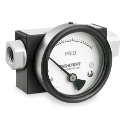 Ashcroft - 351130FD25SXCYLM60PSID - 1/4 FNPT Differential Pressure Gauge with 4-1/2 Dial, 0 to 60 psi, Aluminum