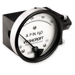 Ashcroft - 351132FD25SXCYLM200IWD - 1/4 FNPT and MNPT Differential Pressure Gauge with 4-1/2 Dial, 0 to 200 In. H2O, Aluminum