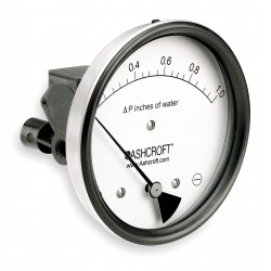 Ashcroft - 451134EDRQMXCYLM1IWD - 1/8 FNPT Differential Pressure Gauge with 5 Dial, 0 to 1 In. H2O, Glass Filled Nylon
