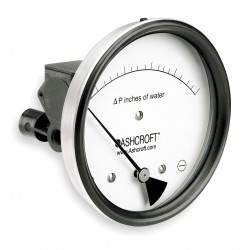 Ashcroft - 451134EDRQMXCYLM3IWD - 1/8 FNPT Differential Pressure Gauge with 5 Dial, 0 to 3 In. H2O, Glass Filled Nylon