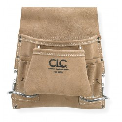 CLC (Custom Leather Craft) - I823X - Tan Nail and Tool Pouch, Suede Leather, Fits Belts Up To (In.): 2-3/4