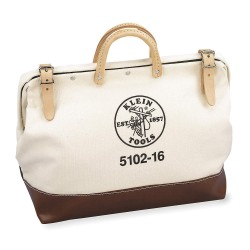 "Klein Tools - 5102-16 - Canvas Wide-Mouth Tool Bag, 16"" Width, Number of Pockets: 1, Brown/Tan"