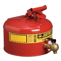 Justrite - 7225140 - 2-1/2 gal. Type I Faucet Safety Can, Used For Flammables, Red&#x3b; Includes Flame Arresters