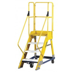 Louisville Ladder - FW2404 - 4-Step Rolling Ladder, Serrated Step Tread, 80 Overall Height, 300 lb. Load Capacity