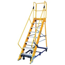 "Louisville Ladder - FW2408 - 8-Step Nonconductive Rolling Ladder, Serrated Step Tread, 118"" Overall Height, 300 lb. Load Capacity"