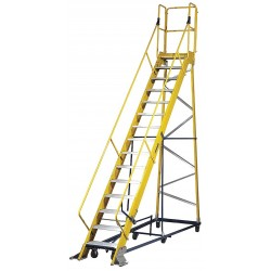 "Louisville Ladder - FW2415 - 15-Step Nonconductive Rolling Ladder, Serrated Step Tread, 185"" Overall Height, 300 lb. Load Capacit"