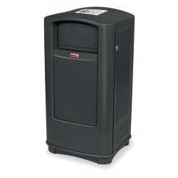 Rubbermaid - FG9P9100BLA - Plaza 35 gal. Rectangular Ash Top Utility Ash/Trash Can, 41-1/16H, Black